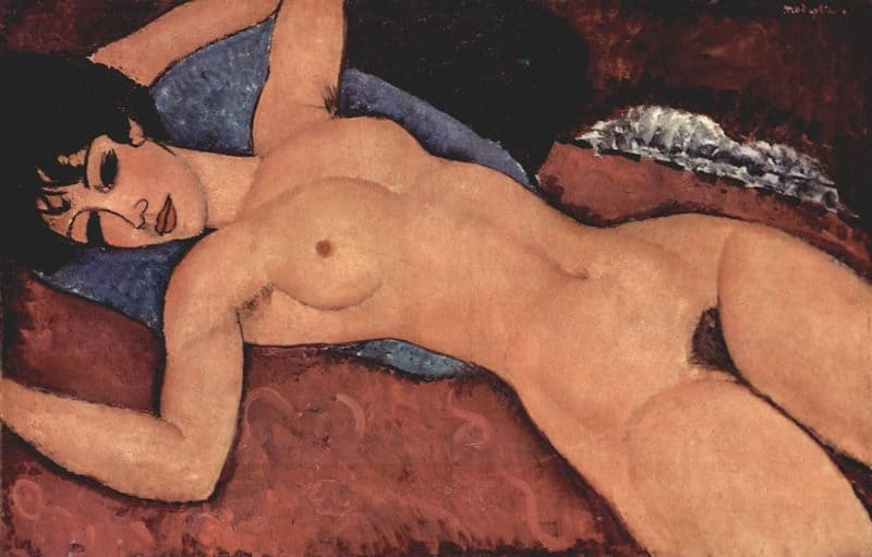 Most Expensive Paintings - Reclining Nude With Blue Cushion - Amedeo Modigliani