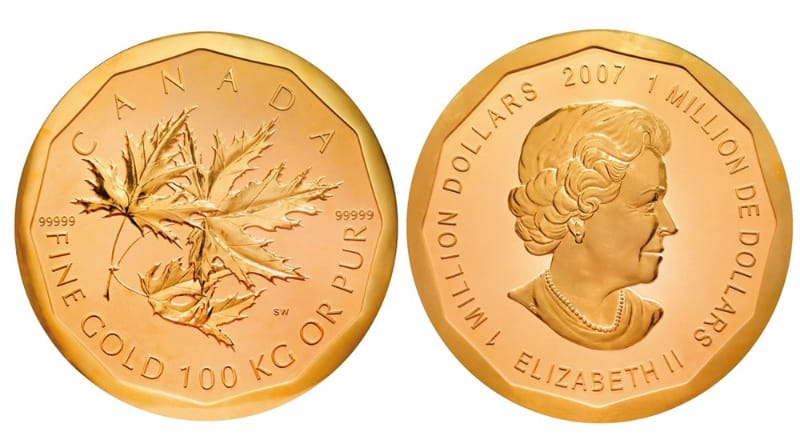 Most Expensive Coins - $1 Million Gold Canadian Maple Leaf (2007)