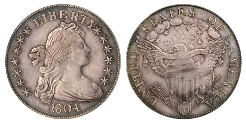 Most Expensive Coins - Bust Dollar - Class 1 - Dexter-Poque Specimen (1804)