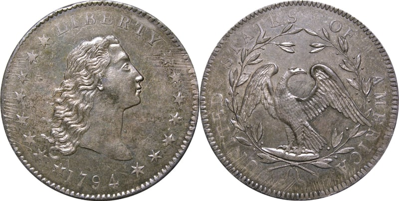 Most Expensive Coins - Flowing Hair Silver:Copper Dollar (1794)