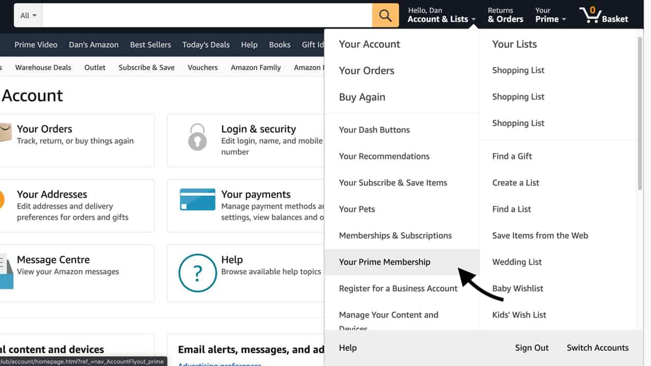 How to Cancel Amazon Prime - Step 2