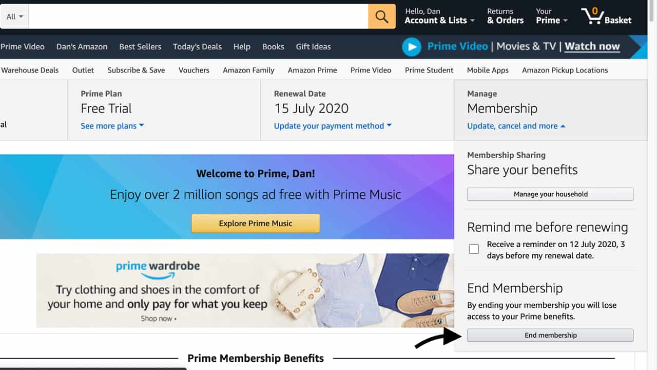 How to Cancel Amazon Prime - Step 3