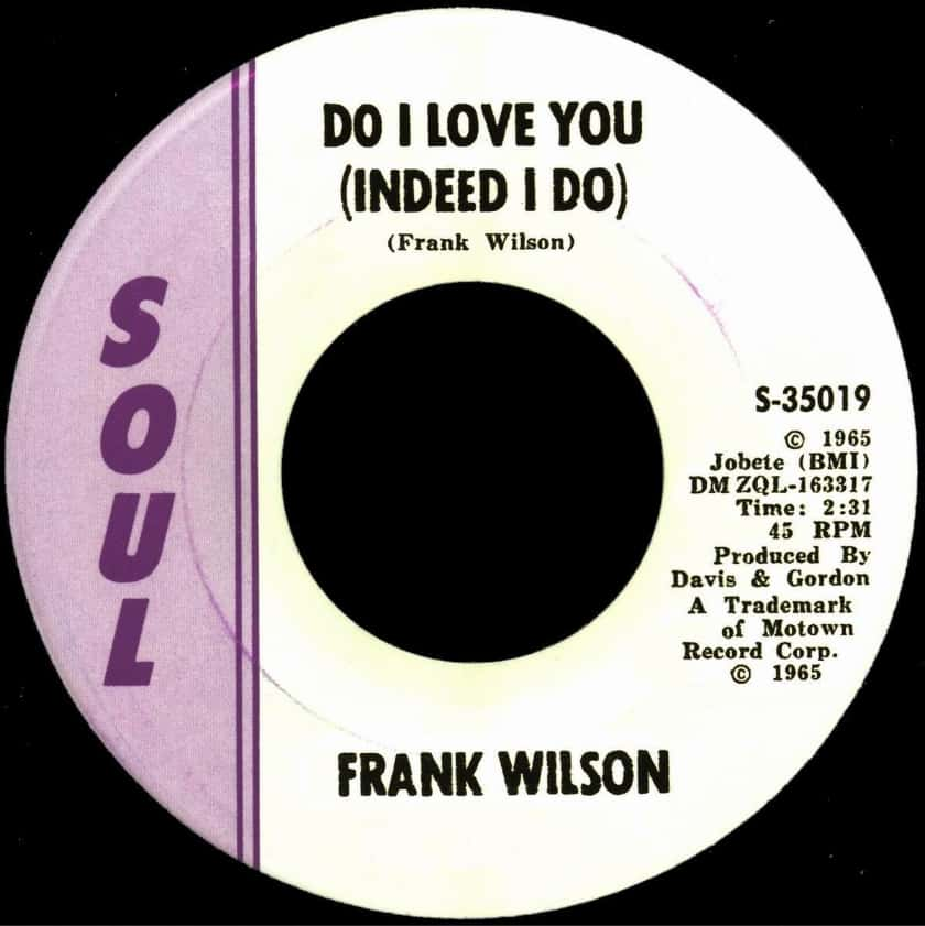 Most Expensive Vinyl Records - Frank Wilson 'Do I Love You (Indeed I Do)'